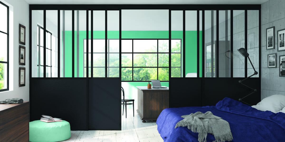 Verrière coulissante 4 vantaux en aluminium, laquée couleur noir