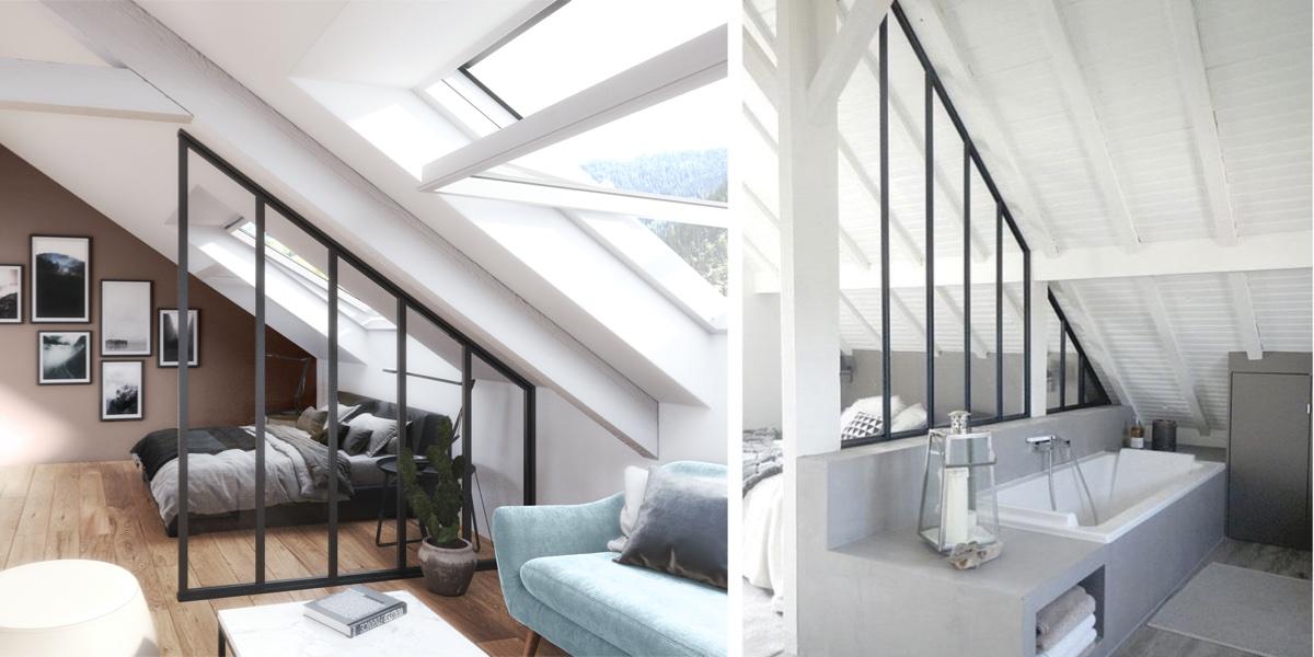 La verrière sous mezzanine s'adapte à la pente du toit