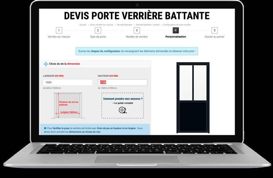 Configurateur de verrière battante sur mesure pour devis en ligne