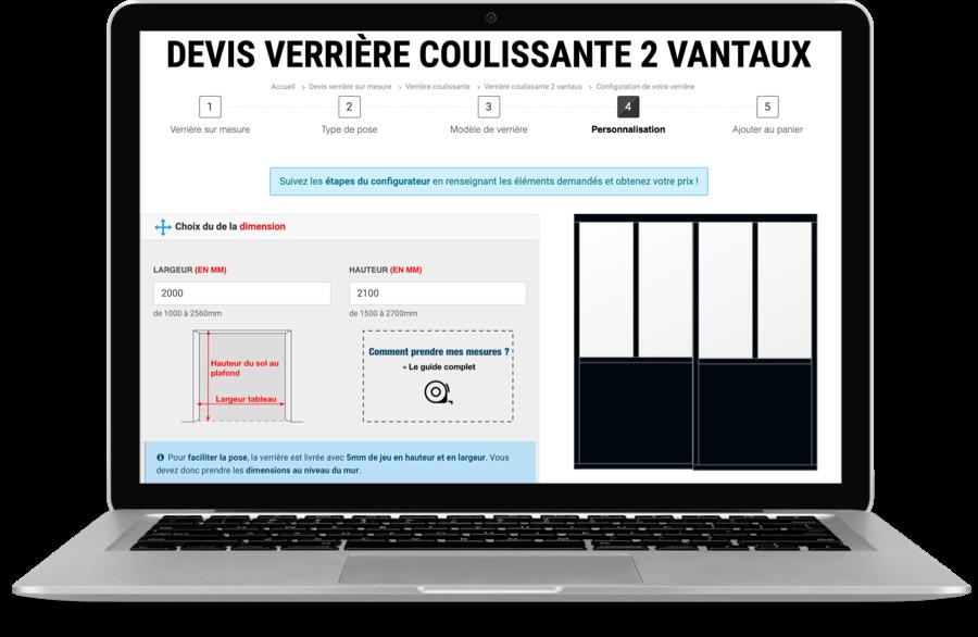 Configurateur de verrière coulissante sur mesure pour devis en ligne