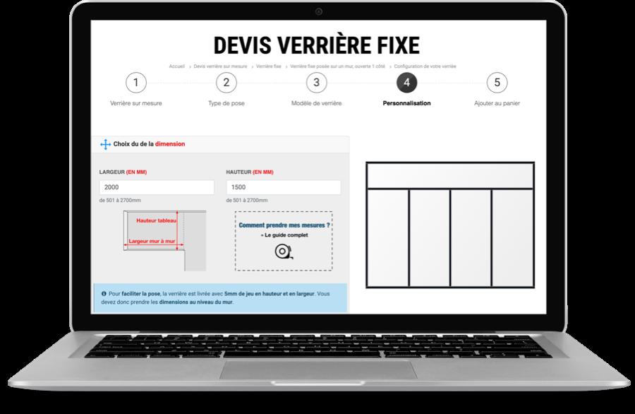 Configurateur de verrière sur mesure pour devis en ligne