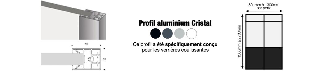 Détail du profil en aluminium de la porte verrière coulissante