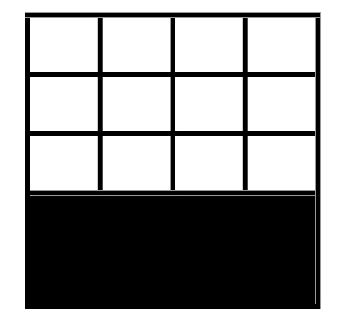 Verrière intérieure DUO AUTHENTIQUE avec soubassement et plusieurs traverses horizontales